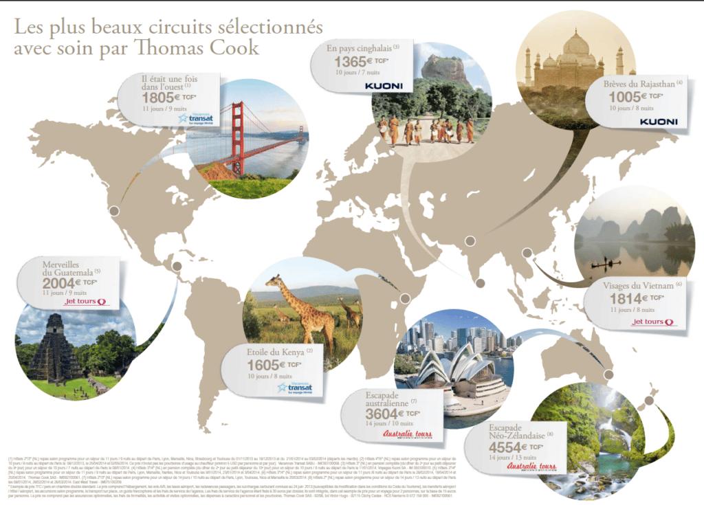 Carte des circuits sélectionnés par Thomas Cook